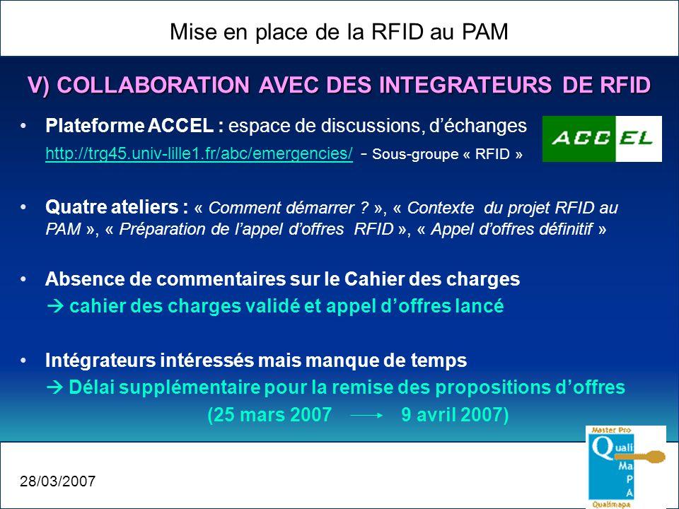 Mise en place de la RFID au PAM 28/03/2007 V) COLLABORATION AVEC DES INTEGRATEURS DE RFID Plateforme ACCEL : espace de discussions, déchanges http://t