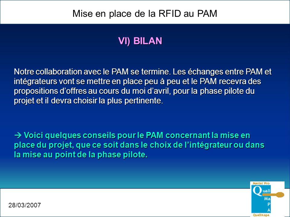 Mise en place de la RFID au PAM 28/03/2007 VI) BILAN Notre collaboration avec le PAM se termine. Les échanges entre PAM et intégrateurs vont se mettre