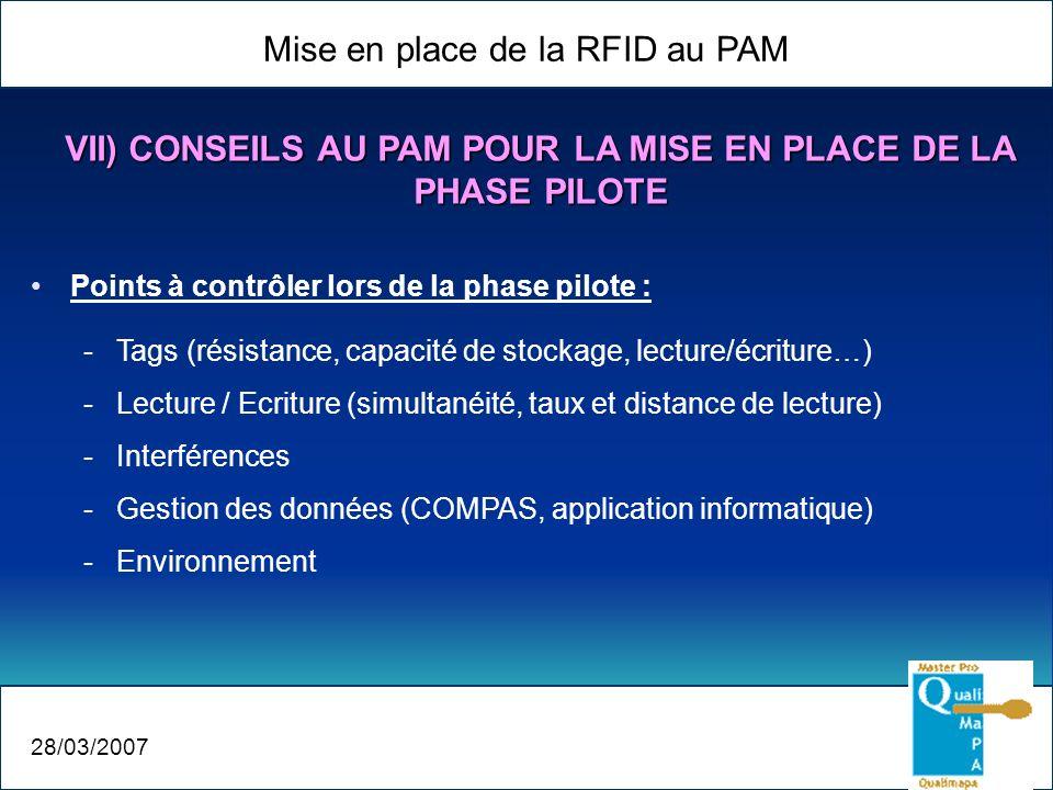Mise en place de la RFID au PAM 28/03/2007 Points à contrôler lors de la phase pilote : -Tags (résistance, capacité de stockage, lecture/écriture…) -L