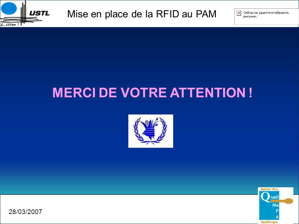 Mise en place de la RFID au PAM 28/03/2007 MERCI DE VOTRE ATTENTION !