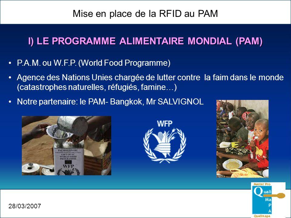 Mise en place de la RFID au PAM 28/03/2007 I) LE PROGRAMME ALIMENTAIRE MONDIAL (PAM) P.A.M. ou W.F.P. (World Food Programme) Agence des Nations Unies