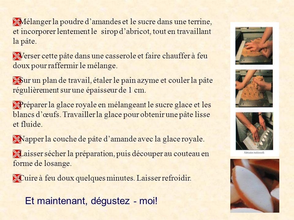 Ma recette maison Voici une des nombreuses variantes de la recette maison du calisson. Ingrédients: Pour la pâte à calisson: 500g damandes en poudre 5