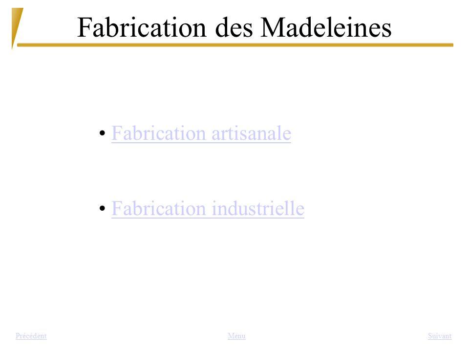 Fabrication des Madeleines MenuSuivantPrécédent Fabrication artisanale Fabrication industrielle