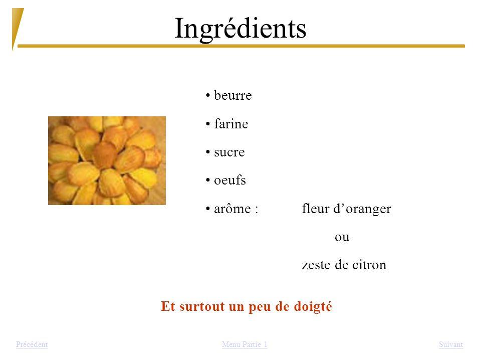 Ingrédients SuivantPrécédent beurre farine sucre oeufs arôme :fleur doranger ou zeste de citron Et surtout un peu de doigté Menu Partie 1