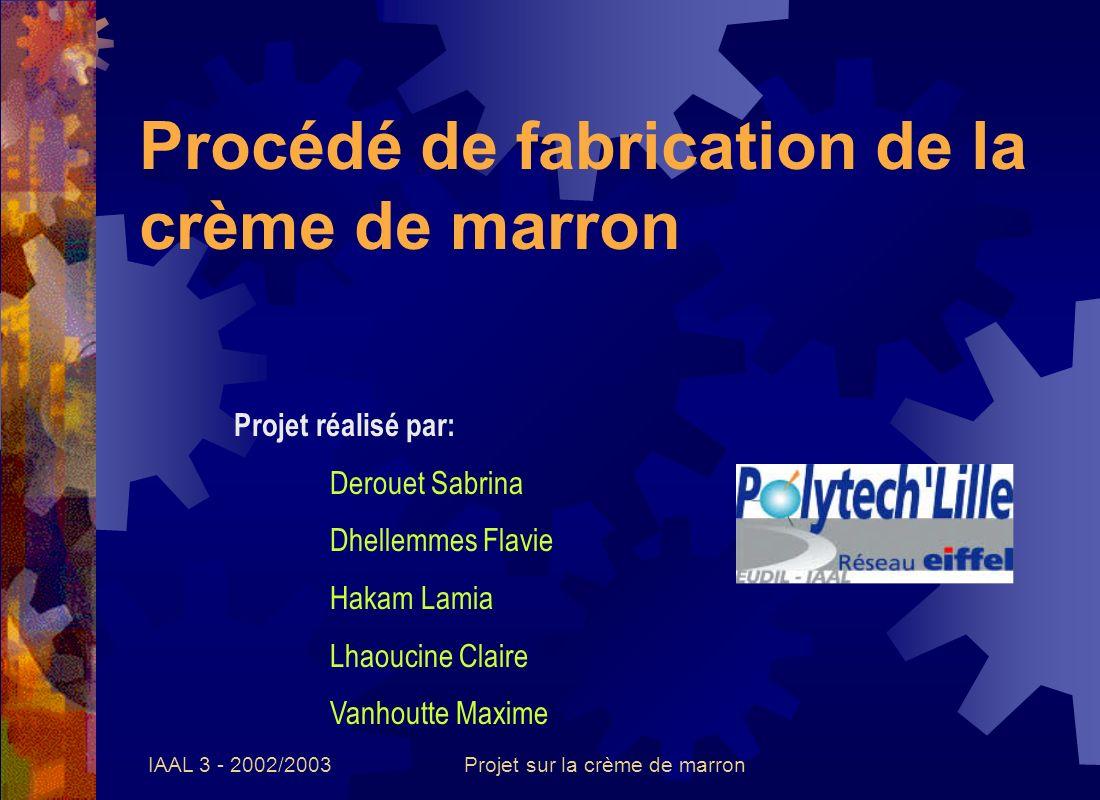 IAAL 3 - 2002/2003Projet sur la crème de marron Procédé de fabrication de la crème de marron Projet réalisé par: Derouet Sabrina Dhellemmes Flavie Hak