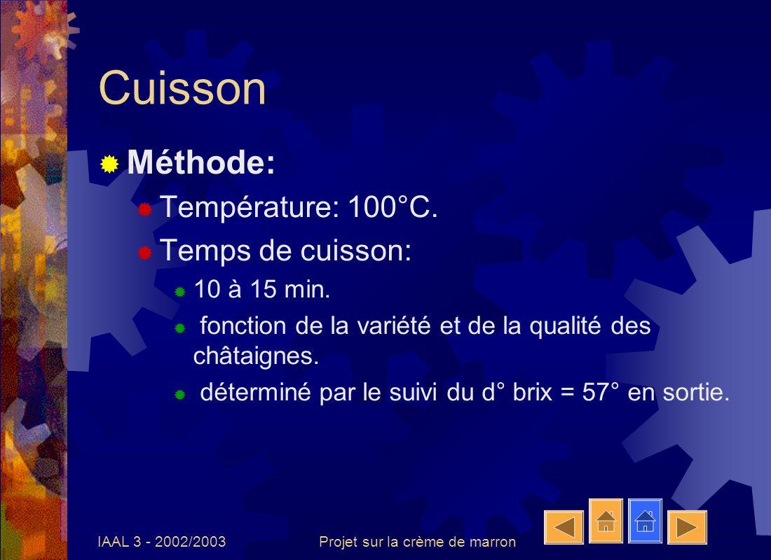 IAAL 3 - 2002/2003Projet sur la crème de marron Cuisson Méthode: Température: 100°C. Temps de cuisson: 10 à 15 min. fonction de la variété et de la qu