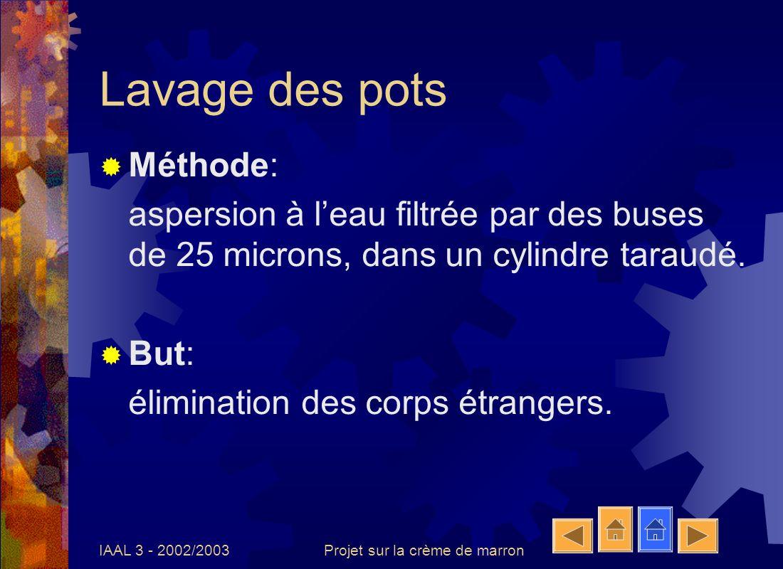 IAAL 3 - 2002/2003Projet sur la crème de marron Lavage des pots Méthode: aspersion à leau filtrée par des buses de 25 microns, dans un cylindre taraud