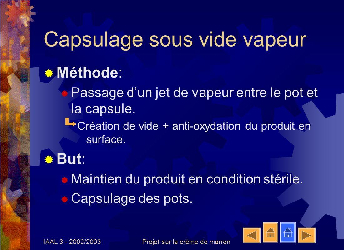 IAAL 3 - 2002/2003Projet sur la crème de marron Capsulage sous vide vapeur Méthode: Passage dun jet de vapeur entre le pot et la capsule. Création de
