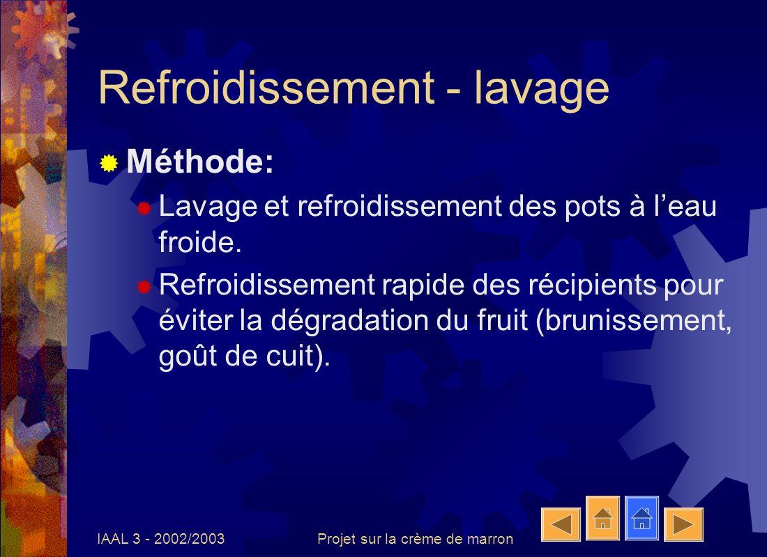 IAAL 3 - 2002/2003Projet sur la crème de marron Refroidissement - lavage Méthode: Lavage et refroidissement des pots à leau froide. Refroidissement ra