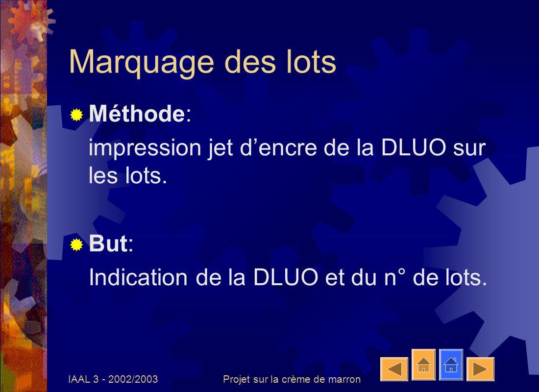 IAAL 3 - 2002/2003Projet sur la crème de marron Marquage des lots Méthode: impression jet dencre de la DLUO sur les lots. But: Indication de la DLUO e