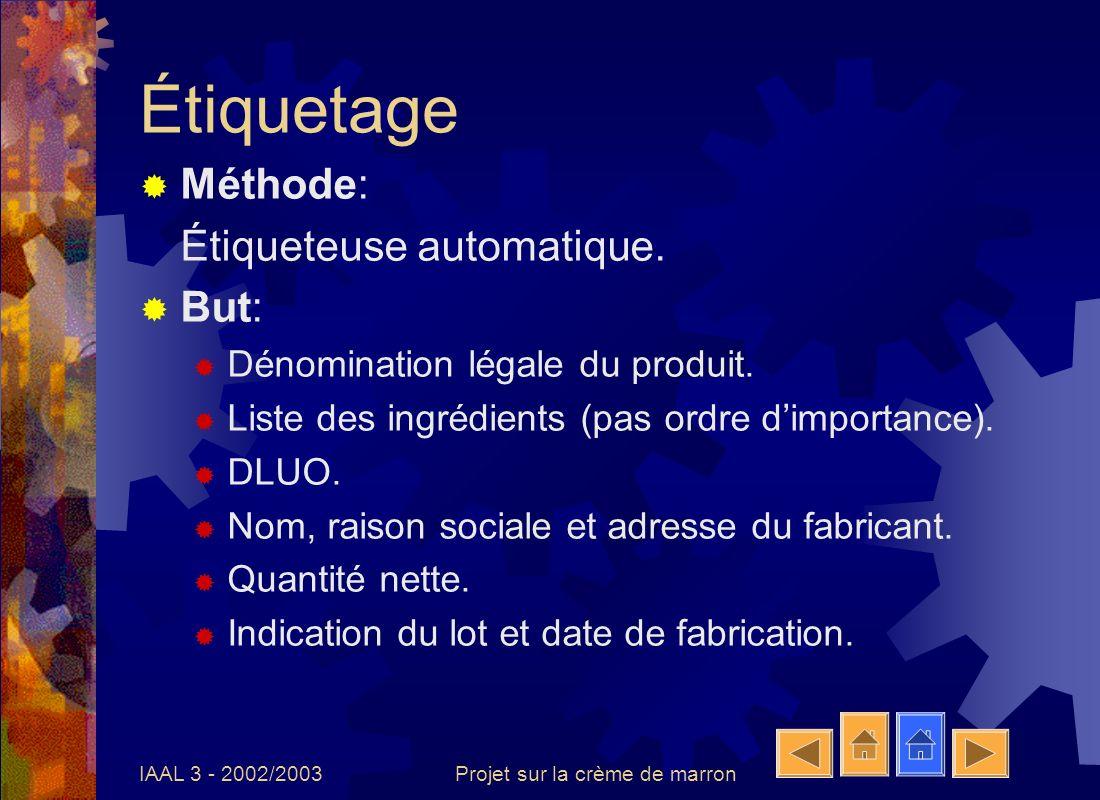IAAL 3 - 2002/2003Projet sur la crème de marron Étiquetage Méthode: Étiqueteuse automatique. But: Dénomination légale du produit. Liste des ingrédient