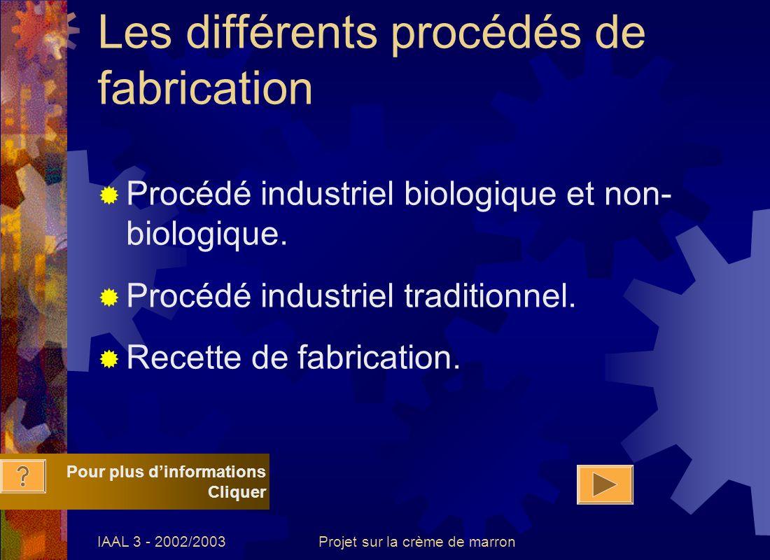 IAAL 3 - 2002/2003Projet sur la crème de marron Les différents procédés de fabrication Procédé industriel biologique et non- biologique. Procédé indus