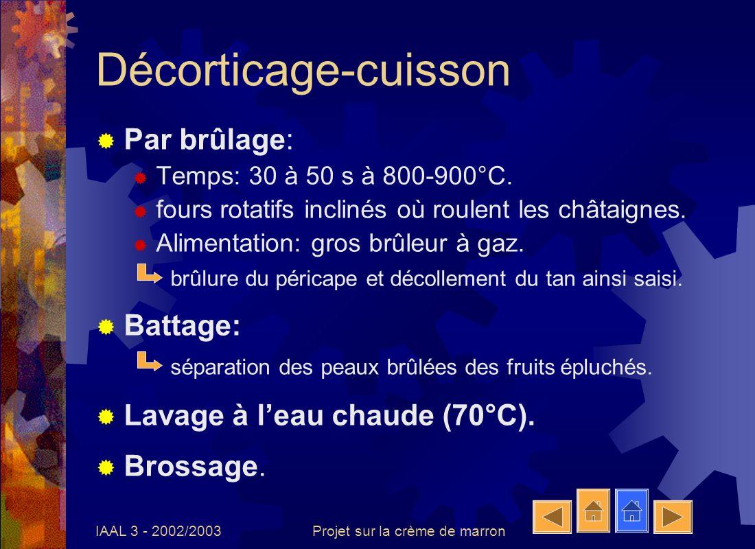 IAAL 3 - 2002/2003Projet sur la crème de marron Décorticage-cuisson Par brûlage: Temps: 30 à 50 s à 800-900°C. fours rotatifs inclinés où roulent les