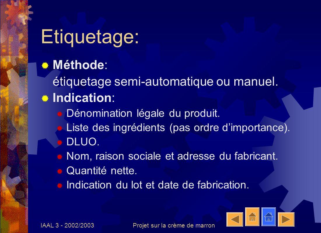 IAAL 3 - 2002/2003Projet sur la crème de marron Etiquetage: Méthode: étiquetage semi-automatique ou manuel. Indication: Dénomination légale du produit
