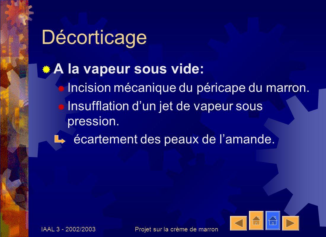 IAAL 3 - 2002/2003Projet sur la crème de marron Décorticage A la vapeur sous vide: Incision mécanique du péricape du marron. Insufflation dun jet de v