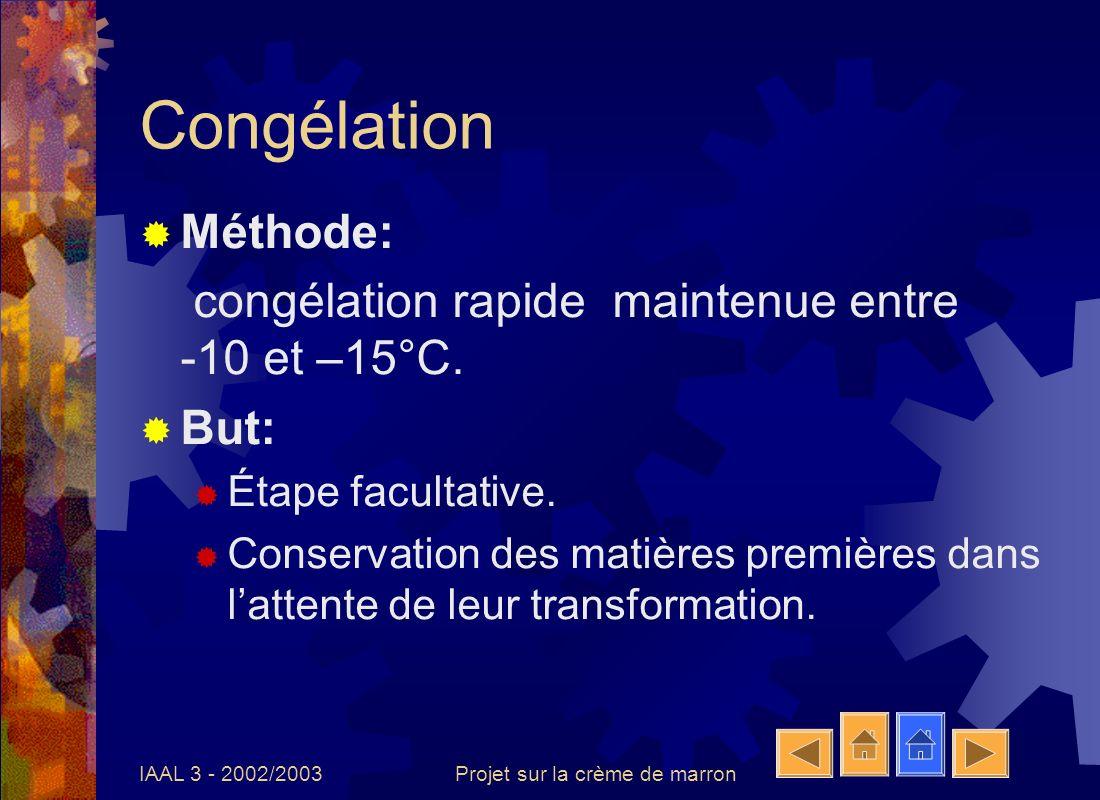 IAAL 3 - 2002/2003Projet sur la crème de marron Congélation Méthode: congélation rapide maintenue entre -10 et –15°C. But: Étape facultative. Conserva