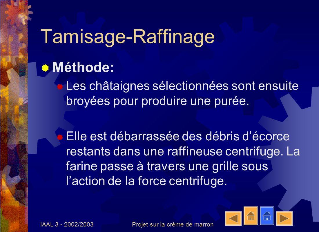 IAAL 3 - 2002/2003Projet sur la crème de marron Tamisage-Raffinage Méthode: Les châtaignes sélectionnées sont ensuite broyées pour produire une purée.