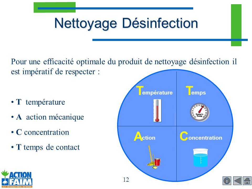 12 Pour une efficacité optimale du produit de nettoyage désinfection il est impératif de respecter : T température A action mécanique C concentration
