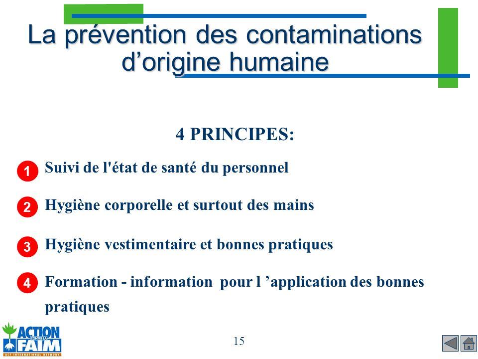 15 La prévention des contaminations dorigine humaine 4 PRINCIPES: Suivi de l'état de santé du personnel Hygiène corporelle et surtout des mains Hygièn