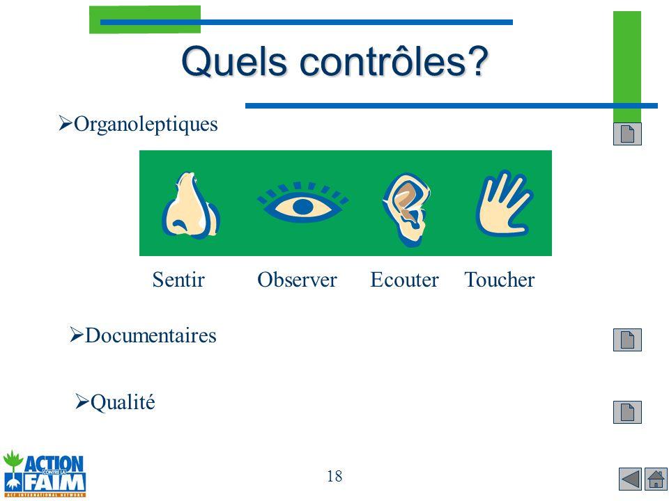 18 Quels contrôles? Organoleptiques SentirObserverEcouterToucher Documentaires Qualité