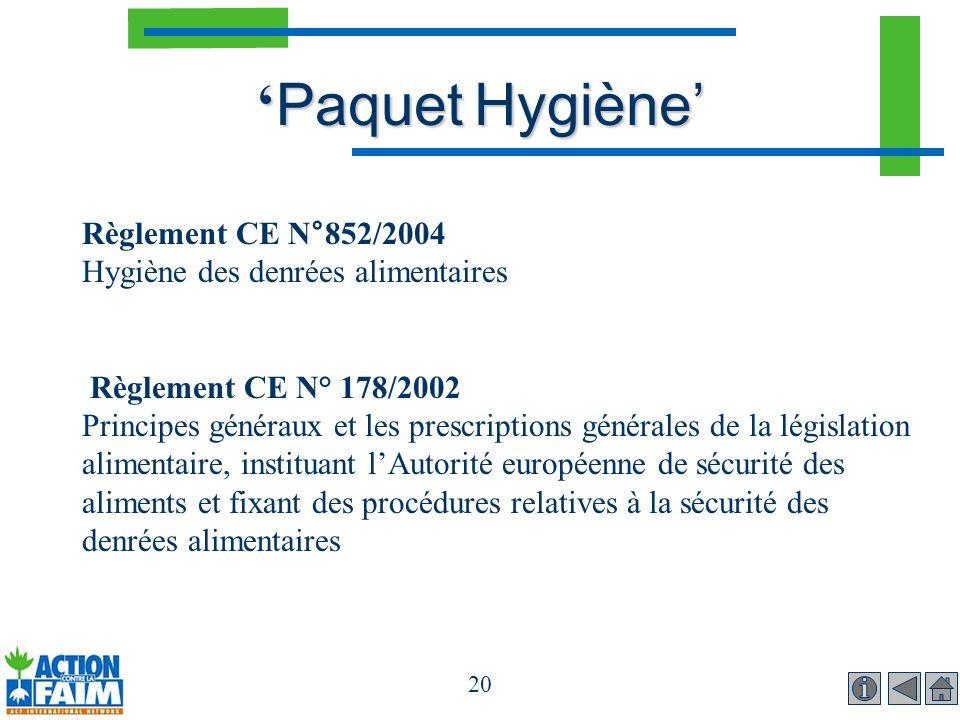 20 Paquet Hygiène Paquet Hygiène Règlement CE N°852/2004 Hygiène des denrées alimentaires Règlement CE N° 178/2002 Principes généraux et les prescript
