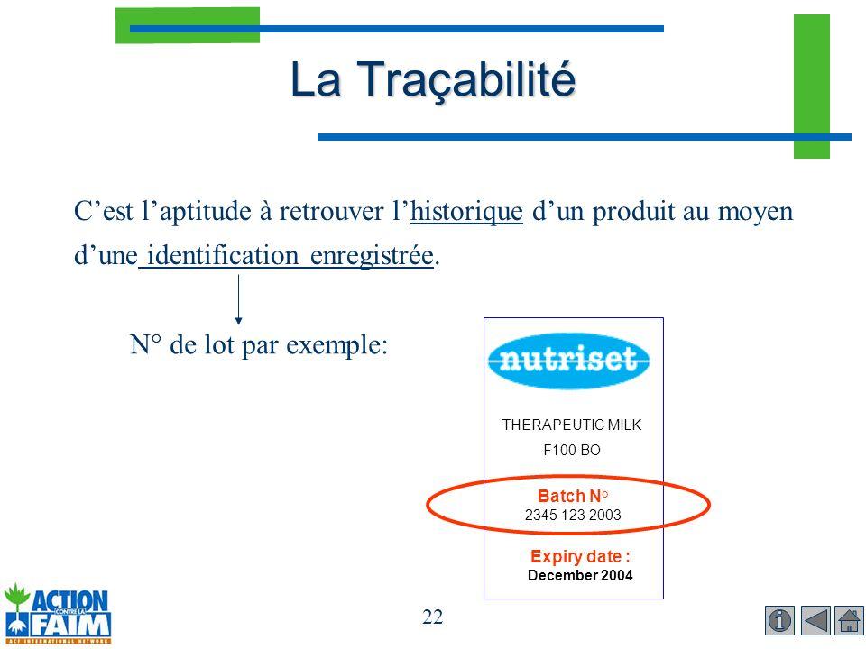 22 La Traçabilité Cest laptitude à retrouver lhistorique dun produit au moyen dune identification enregistrée. N° de lot par exemple: THERAPEUTIC MILK