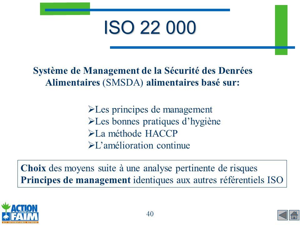 40 ISO 22 000 Système de Management de la Sécurité des Denrées Alimentaires (SMSDA) alimentaires basé sur: Les principes de management Les bonnes prat