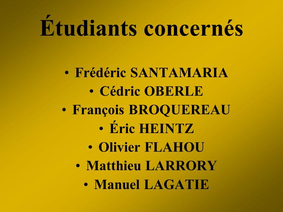 Étudiants concernés Frédéric SANTAMARIA Cédric OBERLE François BROQUEREAU Éric HEINTZ Olivier FLAHOU Matthieu LARRORY Manuel LAGATIE