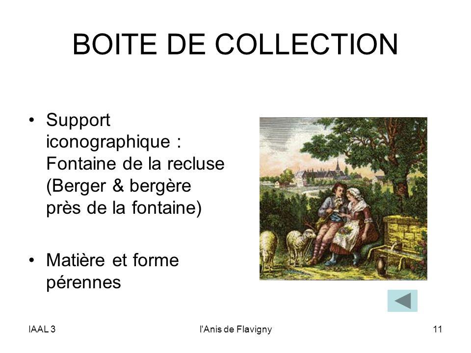 IAAL 3l'Anis de Flavigny11 BOITE DE COLLECTION Support iconographique : Fontaine de la recluse (Berger & bergère près de la fontaine) Matière et forme