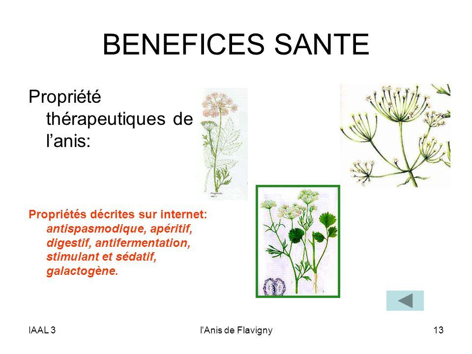 IAAL 3l'Anis de Flavigny13 BENEFICES SANTE Propriété thérapeutiques de lanis: Propriétés décrites sur internet: antispasmodique, apéritif, digestif, a