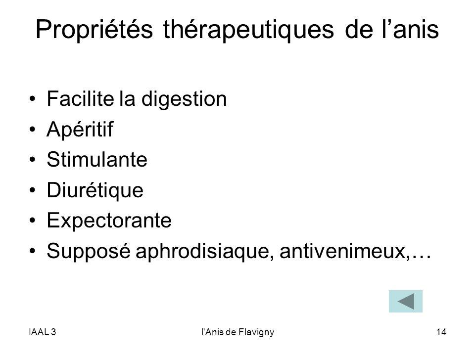 IAAL 3l'Anis de Flavigny14 Propriétés thérapeutiques de lanis Facilite la digestion Apéritif Stimulante Diurétique Expectorante Supposé aphrodisiaque,