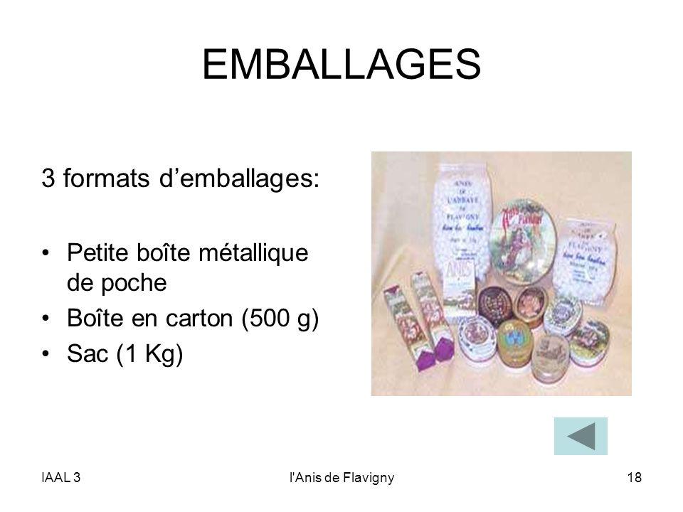 IAAL 3l'Anis de Flavigny18 EMBALLAGES 3 formats demballages: Petite boîte métallique de poche Boîte en carton (500 g) Sac (1 Kg)