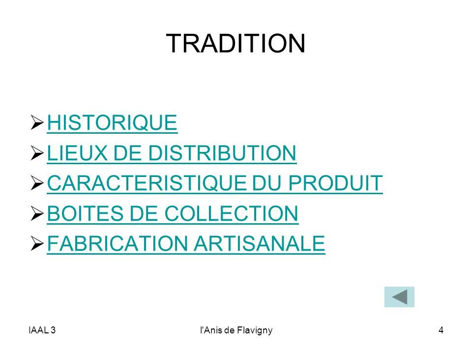 IAAL 3l'Anis de Flavigny4 TRADITION HISTORIQUE LIEUX DE DISTRIBUTION CARACTERISTIQUE DU PRODUIT BOITES DE COLLECTION FABRICATION ARTISANALE