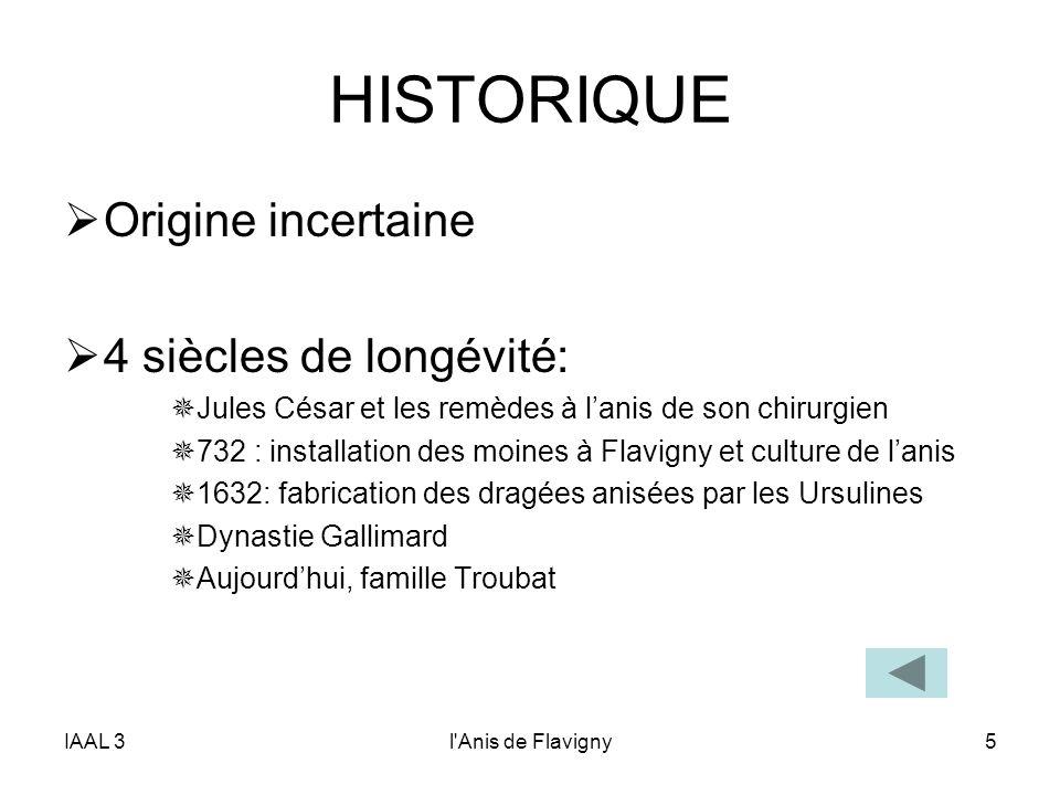 IAAL 3l'Anis de Flavigny5 HISTORIQUE Origine incertaine 4 siècles de longévité: Jules César et les remèdes à lanis de son chirurgien 732 : installatio