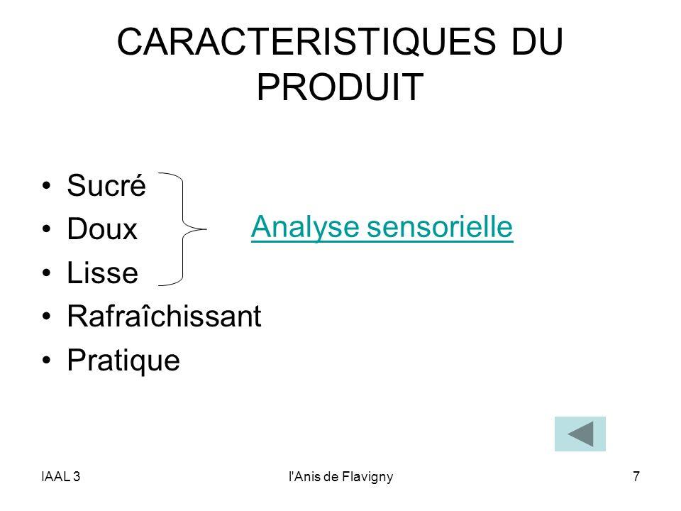 IAAL 3l'Anis de Flavigny7 CARACTERISTIQUES DU PRODUIT Sucré Doux Lisse Rafraîchissant Pratique Analyse sensorielle