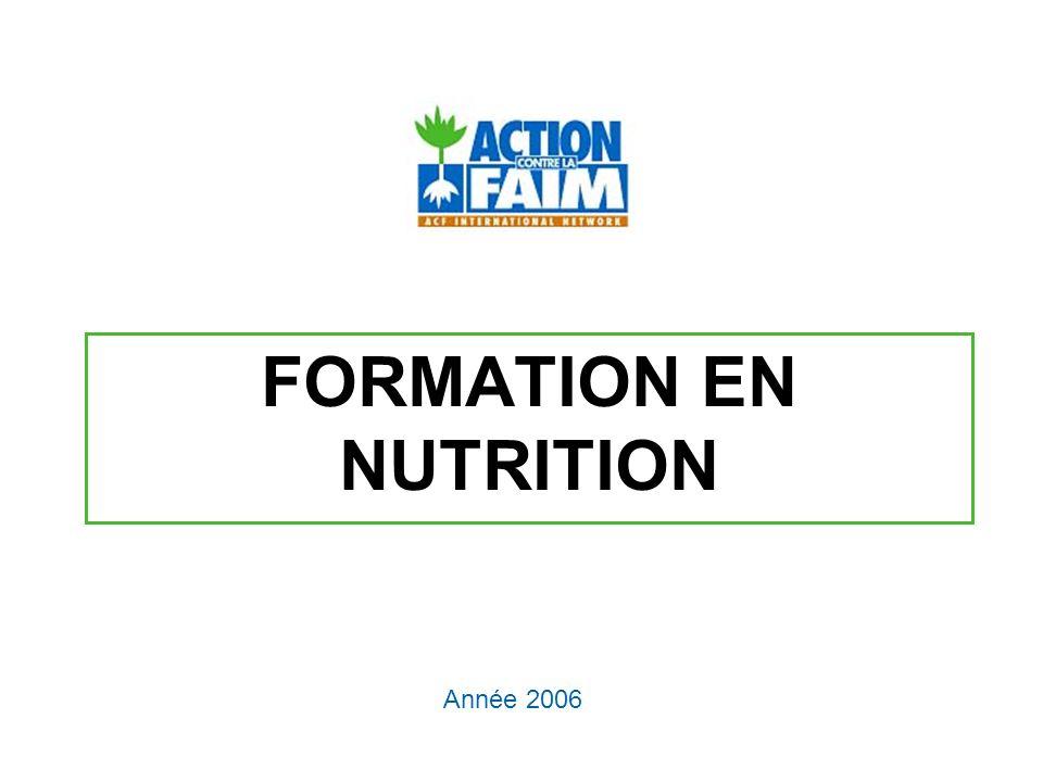 OBJECTIFS Acquérir des connaissances de base sur lalimentation Connaître les impacts et effets des aliments sur lorganisme et la santé Savoir associer une pathologie avec une carence en un nutriment Acquérir les bonnes pratiques de conservation