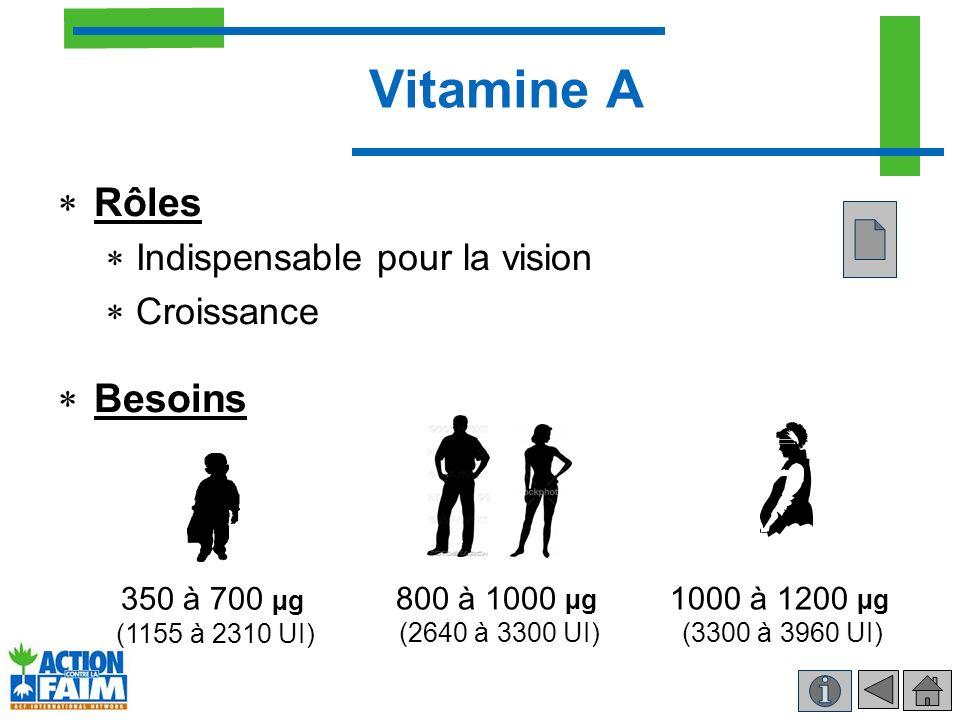 Vitamine A Rôles Indispensable pour la vision Croissance Besoins 350 à 700 µg (1155 à 2310 UI) 800 à 1000 µg (2640 à 3300 UI) 1000 à 1200 µg (3300 à 3