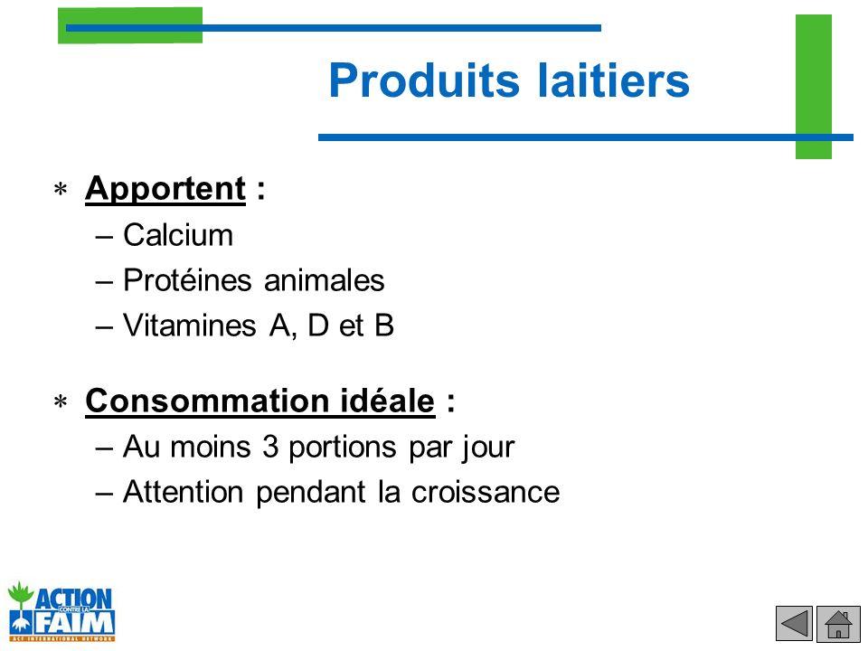 Apportent : –Calcium –Protéines animales –Vitamines A, D et B Consommation idéale : –Au moins 3 portions par jour –Attention pendant la croissance Pro