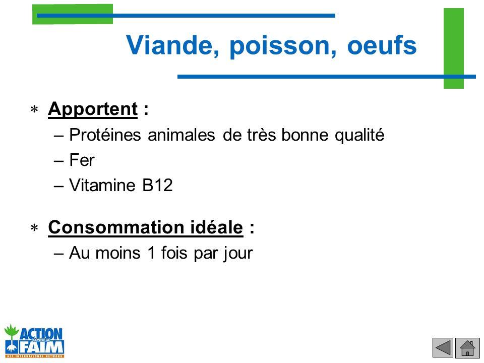 Apportent : –Protéines animales de très bonne qualité –Fer –Vitamine B12 Consommation idéale : –Au moins 1 fois par jour Viande, poisson, oeufs