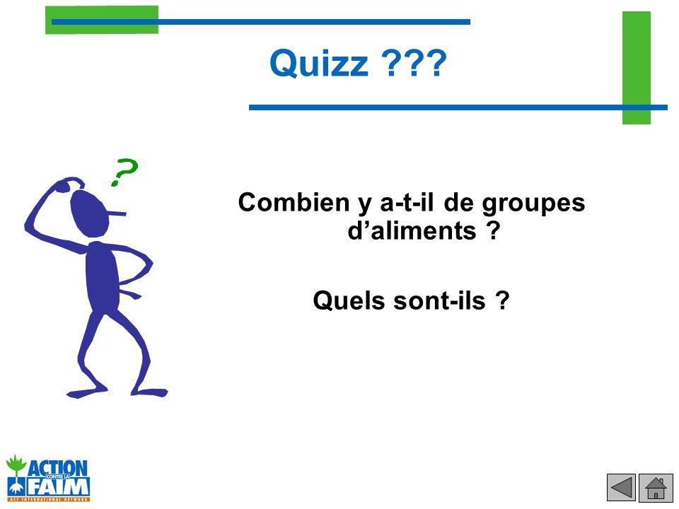Combien y a-t-il de groupes daliments ? Quels sont-ils ? Quizz ???