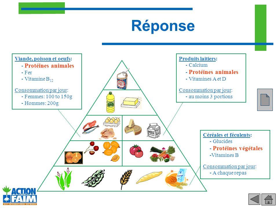 Réponse Céréales et féculents: - Glucides - Protéines végétales -Vitamines B Consommation par jour: - A chaque repas Produits laitiers: - Calcium - Pr