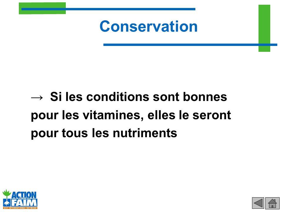 Conservation Si les conditions sont bonnes pour les vitamines, elles le seront pour tous les nutriments