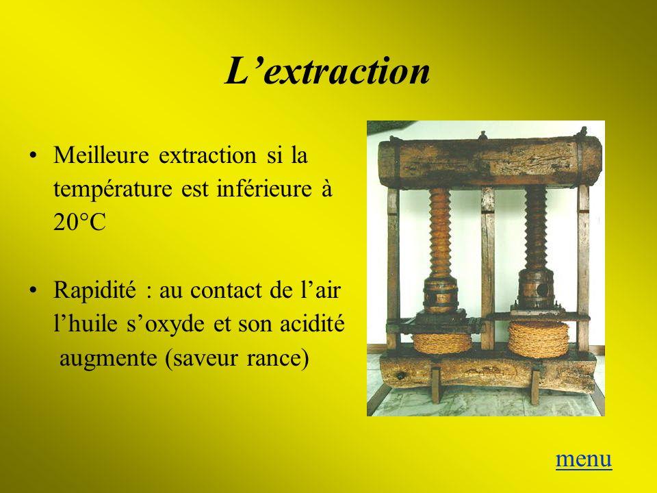 Lextraction Meilleure extraction si la température est inférieure à 20°C Rapidité : au contact de lair lhuile soxyde et son acidité augmente (saveur r