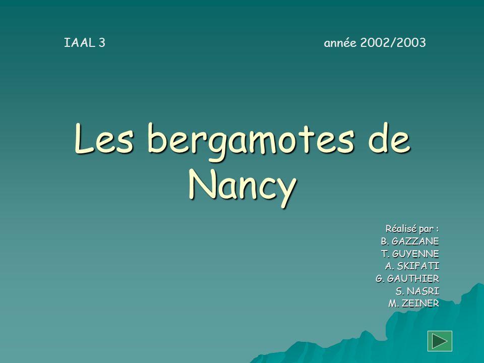 Les bergamotes de Nancy Réalisé par : B. GAZZANE T. GUYENNE A. SKIFATI G. GAUTHIER S. NASRI M. ZEINER IAAL 3 année 2002/2003