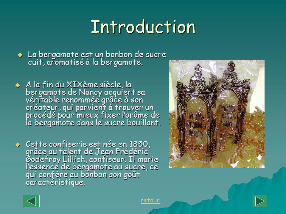 Introduction La bergamote est un bonbon de sucre cuit, aromatisé à la bergamote. La bergamote est un bonbon de sucre cuit, aromatisé à la bergamote. C