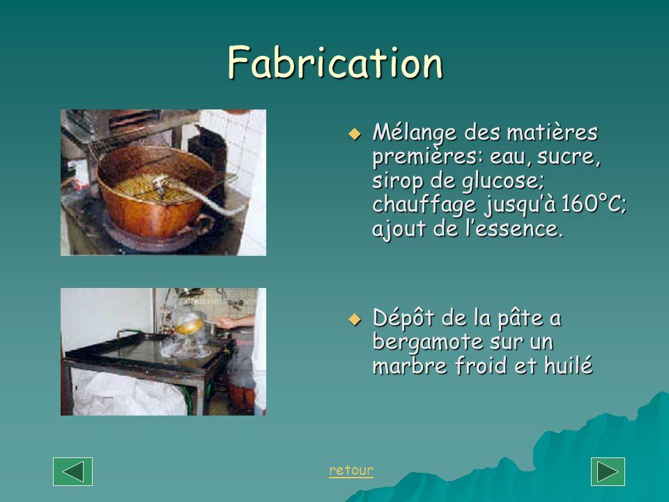 Fabrication Mélange des matières premières: eau, sucre, sirop de glucose; chauffage jusquà 160°C; ajout de lessence. Mélange des matières premières: e