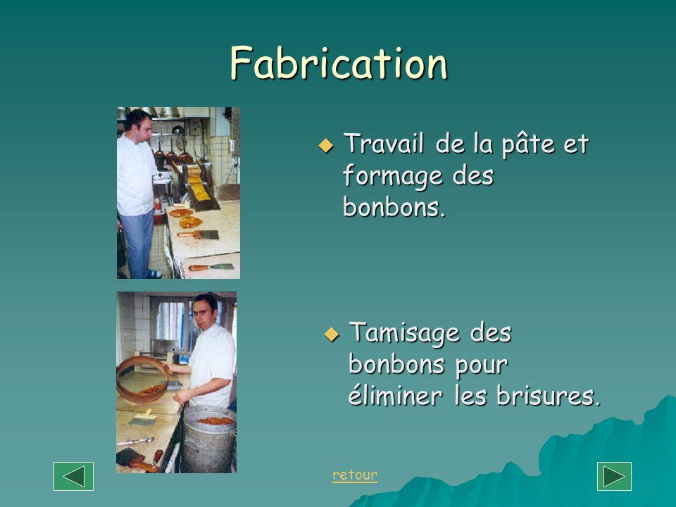 Fabrication Travail de la pâte et formage des bonbons. Travail de la pâte et formage des bonbons. Tamisage des bonbons pour éliminer les brisures. Tam