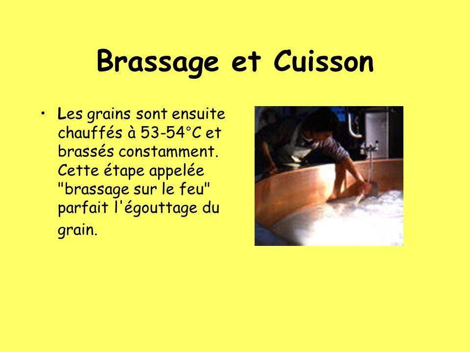Brassage et Cuisson Les grains sont ensuite chauffés à 53-54°C et brassés constamment. Cette étape appelée