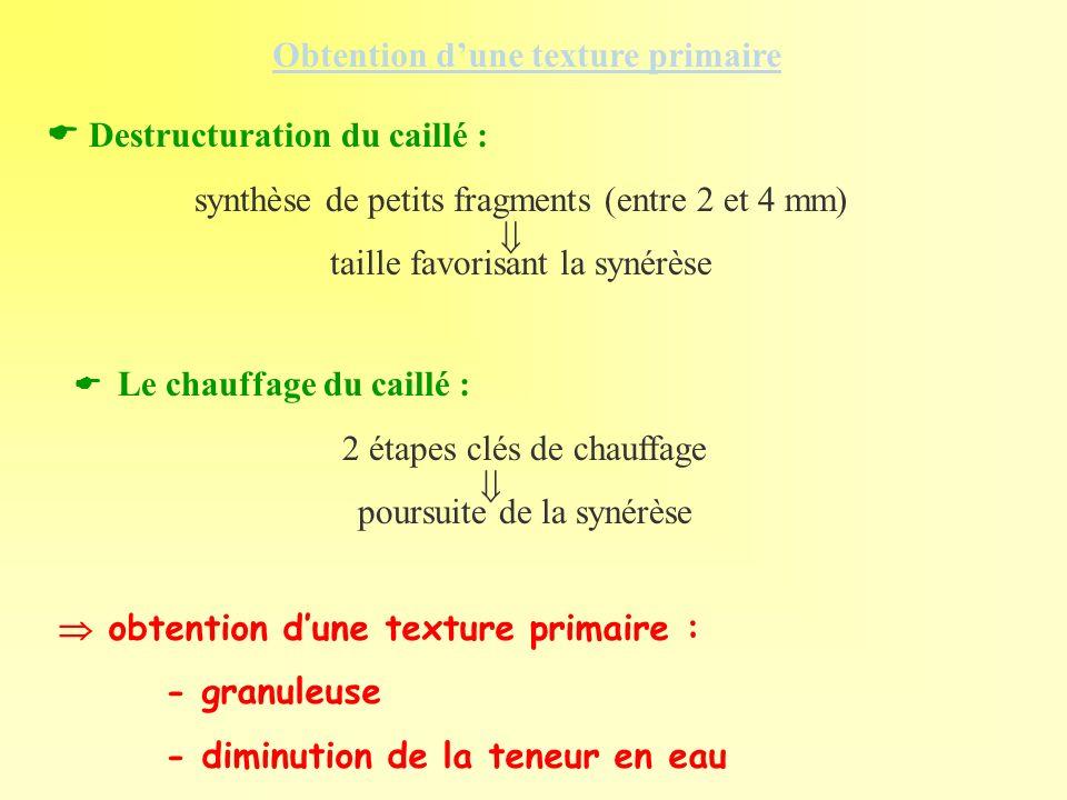 Destructuration du caillé : synthèse de petits fragments (entre 2 et 4 mm) taille favorisant la synérèse Obtention dune texture primaire obtention dun