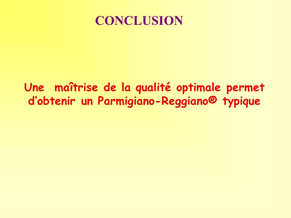 CONCLUSION Une maîtrise de la qualité optimale permet dobtenir un Parmigiano-Reggiano® typique
